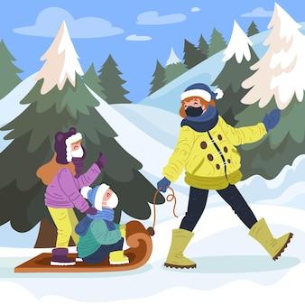 Świąteczna scena śniegu - noszenie masek