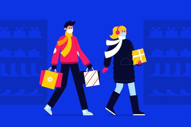 Świąteczna scena zakupów - noszenie masek