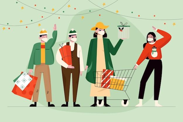 Świąteczna scena zakupów z ludźmi noszącymi maskę