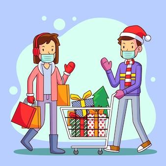 Świąteczna scena zakupów z ludźmi w maskach