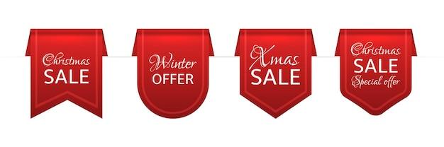 Świąteczna sprzedaż czerwone wstążki ilustracja
