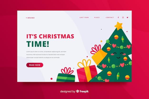 Świąteczna strona docelowa z drzewem i prezentami