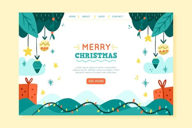 Świąteczna strona docelowa z ilustracjami