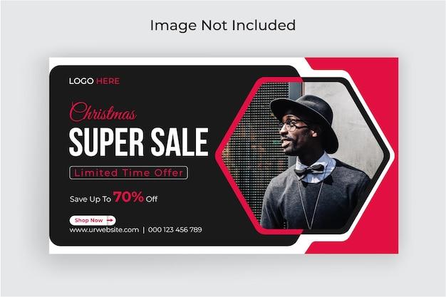 Świąteczna super sprzedaż baner społecznościowy i szablon baneru internetowego premium vector