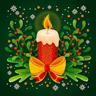 Świąteczna świeca z płomieniami i wstążką z kokardą