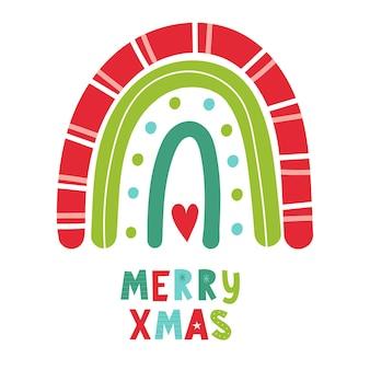Świąteczna tęcza z napisem strony merry xmas vector handdrawn ilustracja kolor dla dzieci
