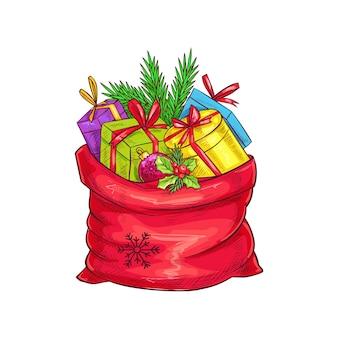 Świąteczna torba z prezentami, choinką i ostrokrzewem. ilustracja w stylu szkicu.