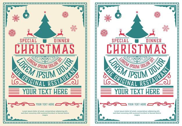 Świąteczna ulotka retro typografia i ozdoba.