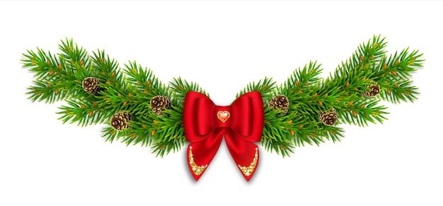 Świąteczna winieta z gałązkami jodły i szyszkami, czerwoną kokardką ze wstążkami i złotym brokatem. czerwony kamień w kształcie serca. noworoczny wystrój domu.