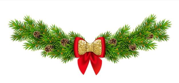 Świąteczna winieta z gałązkami jodły i szyszkami, czerwoną kokardką ze wstążkami i złotym brokatem. noworoczny wystrój domu.