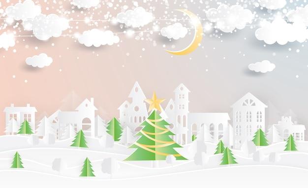 Świąteczna wioska i choinka w stylu wycinanym z papieru. zimowy krajobraz z księżycem