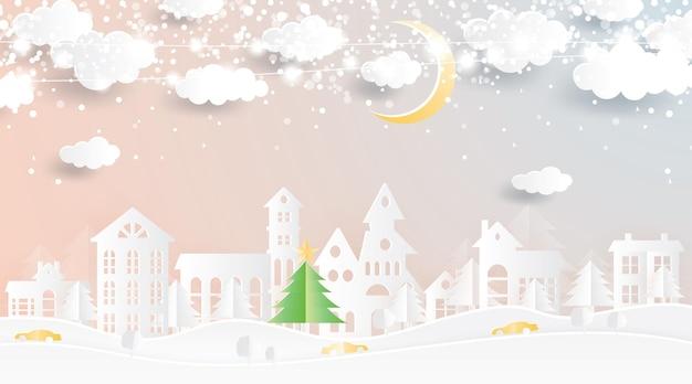Świąteczna wioska w stylu wycinanym z papieru. zimowy krajobraz z księżycem i chmurami.