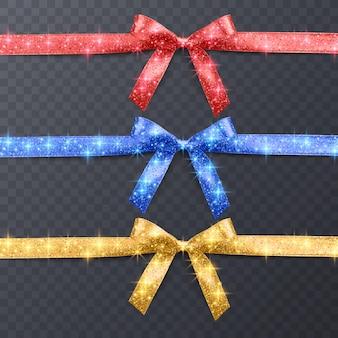 Świąteczna wstążka i kokarda z błyszczącą teksturą zestaw łuków w czerwonych niebieskich i żółtych kolorach