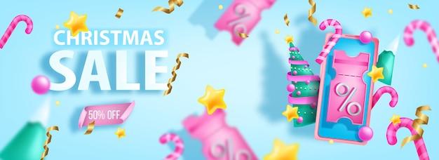 Świąteczna wyprzedaż baner xmas 3d kupon rabatowy promocja zakupy online plakat oferty