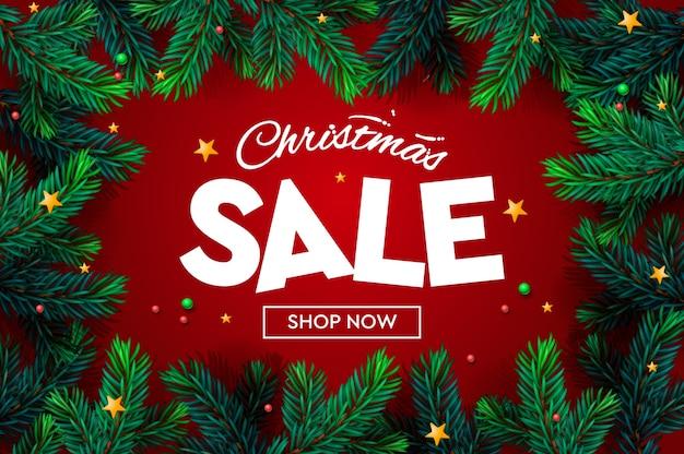Świąteczna wyprzedaż banner, boże narodzenie musujące światła, gałąź choinki. poziome plakaty świąteczne, kartki, nagłówki, strona internetowa,