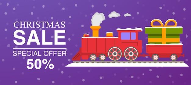 Świąteczna wyprzedaż czerwona lokomotywa parowa z wagonami