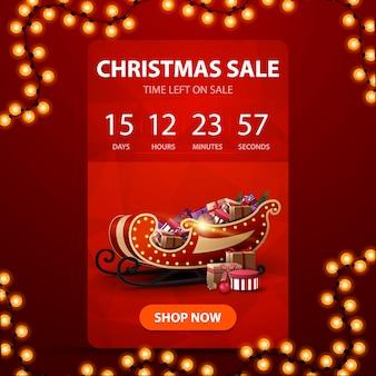 Świąteczna wyprzedaż, czerwony pionowy baner z minutnikiem