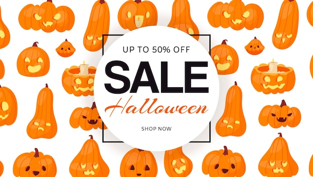 Świąteczna wyprzedaż halloween z wzorem dyni, transparent.