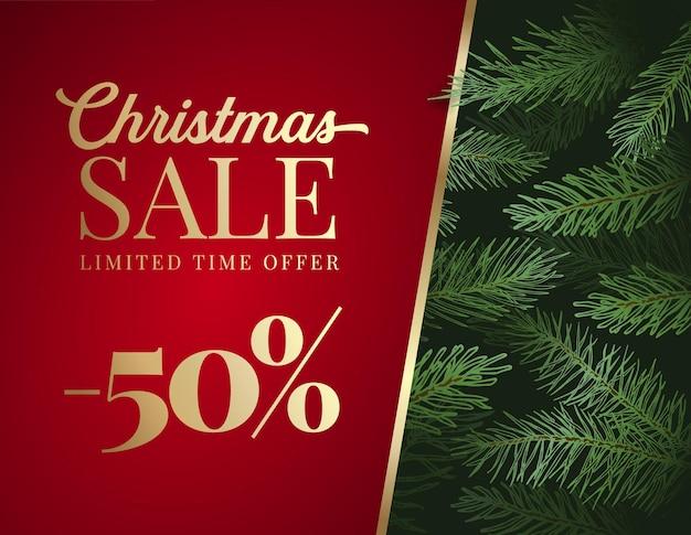 Świąteczna wyprzedaż oferta reklama wektor kartkę z życzeniami lub plakat. sosnowe gałęzie tło z czerwonym sztandarem miejsca kopiowania i złotą typografią. zimowe wakacje promocyjne zniżki szablon dekoracji