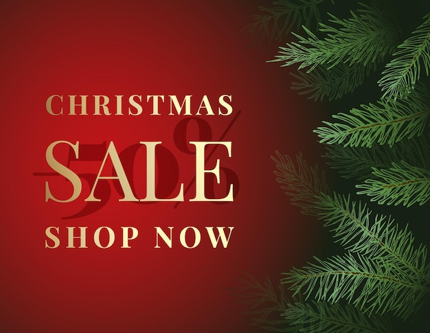 Świąteczna wyprzedaż oferta reklama wektor kartkę z życzeniami lub plakat. sosnowe gałęzie tło z czerwonym sztandarem miejsca kopiowania i złotą typografią. zimowe wakacje rabat promocyjny szablon dekoracji.