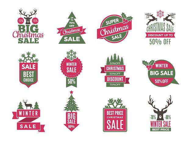 Świąteczna wyprzedaż oznacza odznaki. święta najlepiej oferują etykiety z dużą kolekcją szablonów rabatów