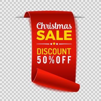 Świąteczna wyprzedaż przewiń papierowy baner. czerwona wstążka papieru na przezroczystym tle. realistyczna etykieta sprzedaży.
