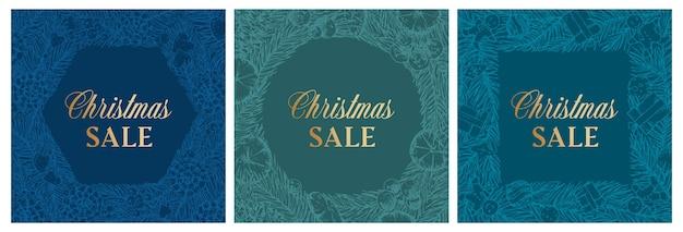 Świąteczna wyprzedaż rabat ręcznie rysowane szkic sosna lub świerk wieniec baner lub szablony kart zestaw abstra...