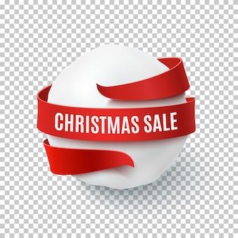 Świąteczna wyprzedaż, śnieżna kula z czerwoną kokardą i wstążką dookoła, na przezroczystym tle. szablon karty z pozdrowieniami, broszury lub plakatu.