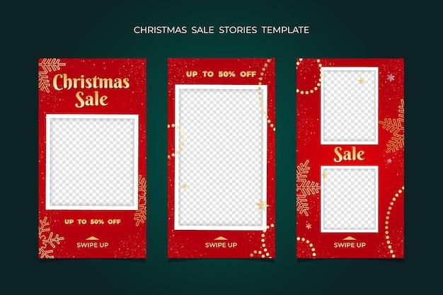 Świąteczna wyprzedaż stories kolekcja szablonów ramek. na baner mediów społecznościowych.