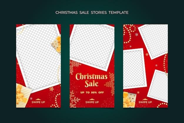 Świąteczna wyprzedaż stories kolekcja szablonów ramek.
