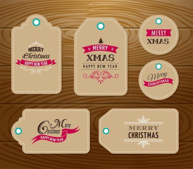 Świąteczna wyprzedaż, tagi upominkowe i etykiety z napisem, typografią