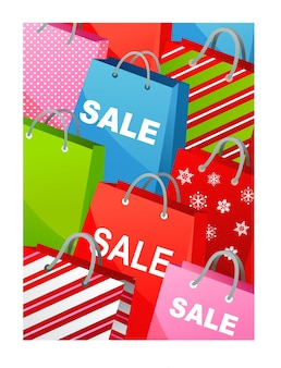 Świąteczna wyprzedaż tło z kolorowych toreb na prezent - szablon plakatu, banera lub karty z pozdrowieniami