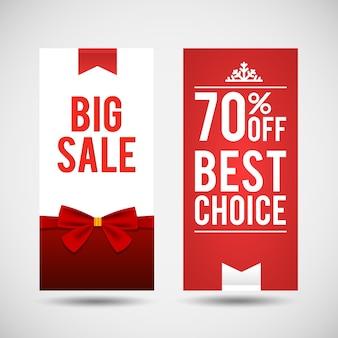 Świąteczna wyprzedaż torfowisk pionowych banerów z informacją o najlepszym wyborze