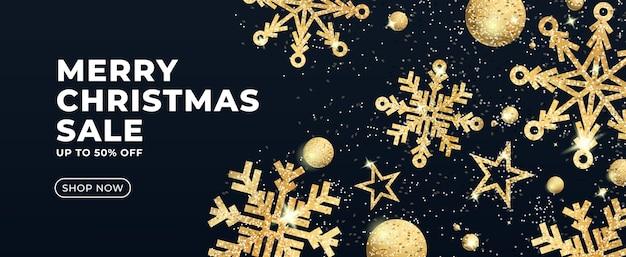 Świąteczna wyprzedaż transparent z brokatowymi złotymi gwiazdami