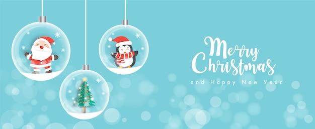 Świąteczna wyprzedaż transparent z uroczą klasą świętego mikołaja i przyjaciółmi w stylu cięcia papieru.