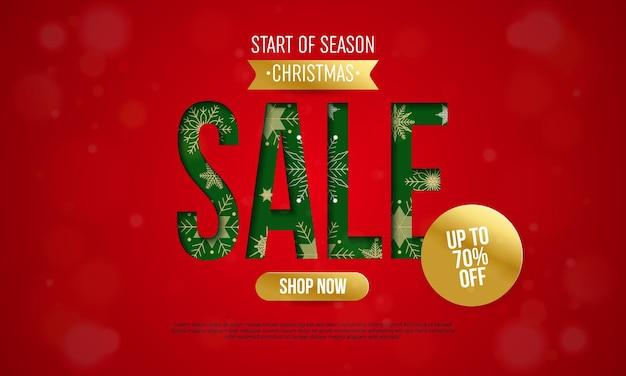 Świąteczna wyprzedaż transparent z zielonym słowem sprzedaż na czerwonym tle z płatkami śniegu