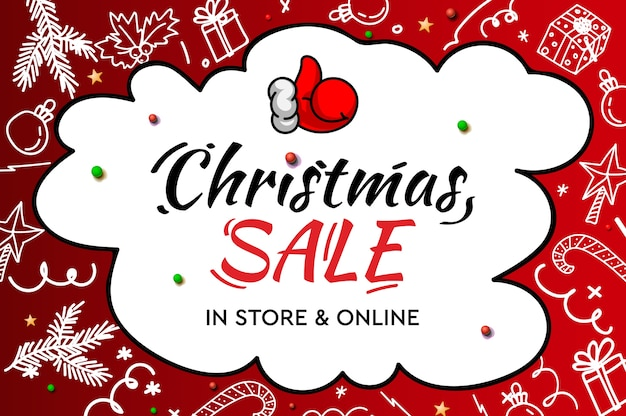 Świąteczna wyprzedaż, w sklepie i online. odręczny nowoczesny napis z elementami dekoracyjnymi doodle i kciukiem mikołaja w górę