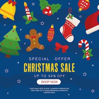 Świąteczna wyprzedaż z ikoną ustawioną na niebieskim tle z gwiazdami, motyw oferty bożonarodzeniowej.