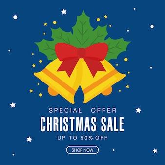 Świąteczna wyprzedaż z motywem dzwonków i liści, motyw oferty świątecznej.