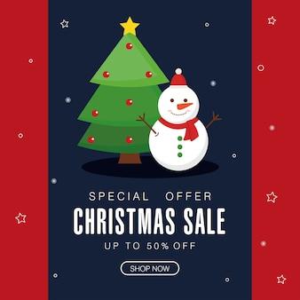 Świąteczna wyprzedaż z motywem sosny i bałwana, motyw oferty bożonarodzeniowej.