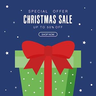 Świąteczna wyprzedaż z prezentami i gwiazdami, motyw oferty świątecznej.