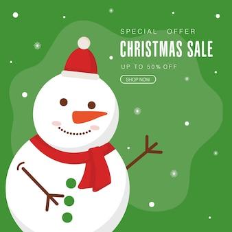 Świąteczna wyprzedaż z projektem bałwana, motyw oferty bożonarodzeniowej.
