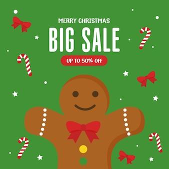 Świąteczna wyprzedaż z projektem pierników i cukierków, motyw oferty bożonarodzeniowej.
