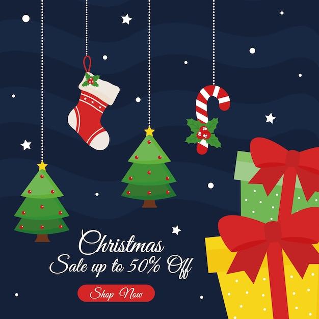 Świąteczna wyprzedaż z projektowaniem prezentów, motyw oferty bożonarodzeniowej.