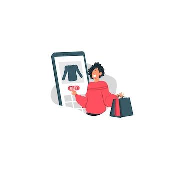 Świąteczna wyprzedaż z szczęśliwą dziewczyną trzyma torbę na zakupy i kupuje modną ilustrację przedmiotu