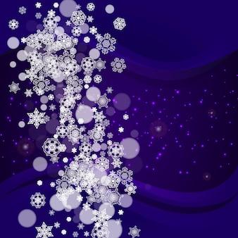 Świąteczna wyprzedaż z ultrafioletowymi płatkami śniegu. nowy rok mroźny tło. zimowa ramka na kupony upominkowe, vouchery, reklamy, imprezy okolicznościowe. boże narodzenie modne tło. świąteczny baner na sprzedaż bożonarodzeniową.