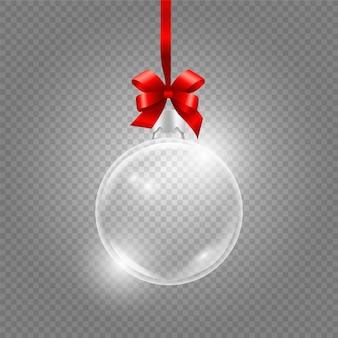 Świąteczna zabawka. szklana kula ziemska z czerwoną jedwabną wstążką. realistyczna szklana kula na przezroczystym tle