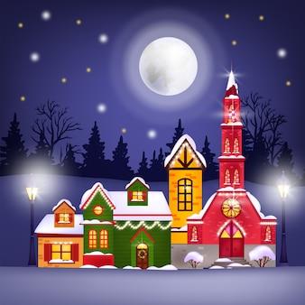 Świąteczna zima ilustracja z domami wakacyjnymi, księżycem, nocnym niebem, gwiazdami, sylwetka lasu