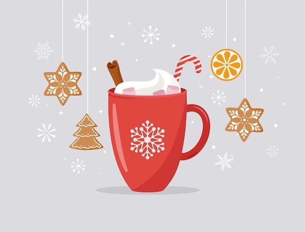 Świąteczna, zimowa scena z dużym kakaowym kubkiem i domowym piernikiem