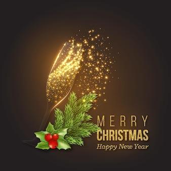 Świąteczna złota dekoracja z szampanem, przezroczystym szkłem, świecącymi światłami. nowy rok gałęzie jodły z ostrokrzewem. ilustracja wektorowa.